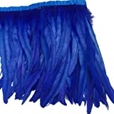 Sowder Rooster Hackle Feather Fringe Trim 10-12inch in Width Pack of 1 Yard(Royal Blue) (Color: Royal Blue)