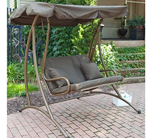 Patio Swing, 2 Person Canopy Swing - Chocolate front-869366