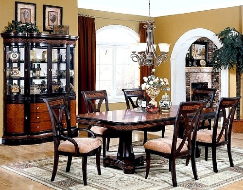 7pcs Renes Two-Tone Formal Dining Table and Chairs Set