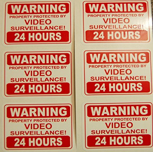 6pcs Security Video Stickers Signs Surveillance Camera Decal Property Home CCTV