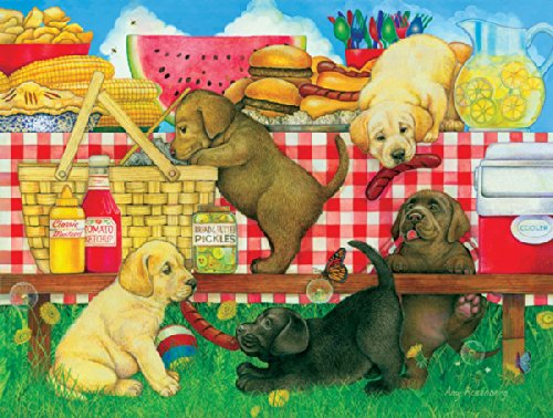 Picnic Puppies a 500-Piece Jigsaw Puzzle by Sunsout Inc.