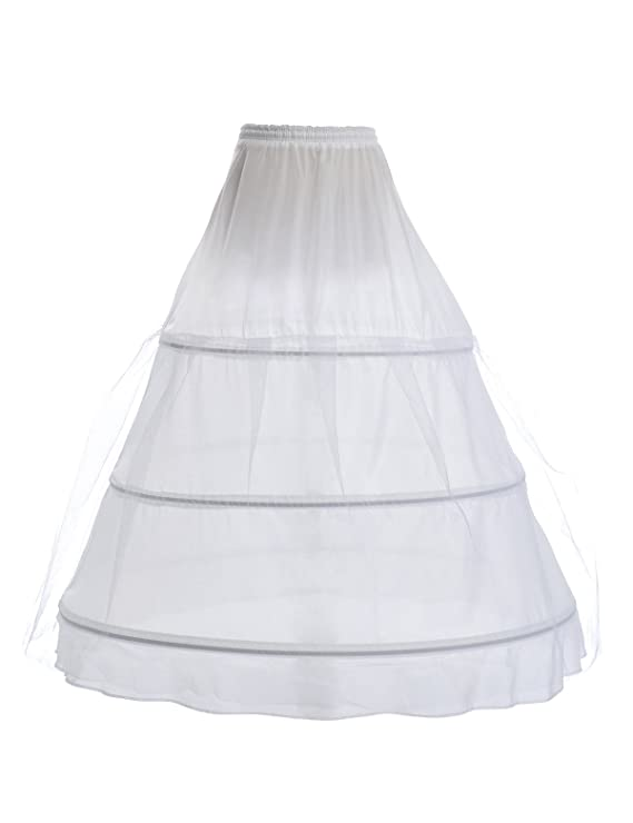 Remedios 3-Boned Full Hoop Petticoat Underskirt in White or Black by Topwedding
