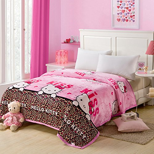 Warm Embrace Childrens Blankets series Leopard HELLO KITTY Flannel Blanket