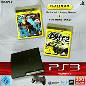 PlayStation 3 - Konsole Slim 320 GB, black inkl. Uncharted 2: Among Thieves + Colin McRae Dirt 2