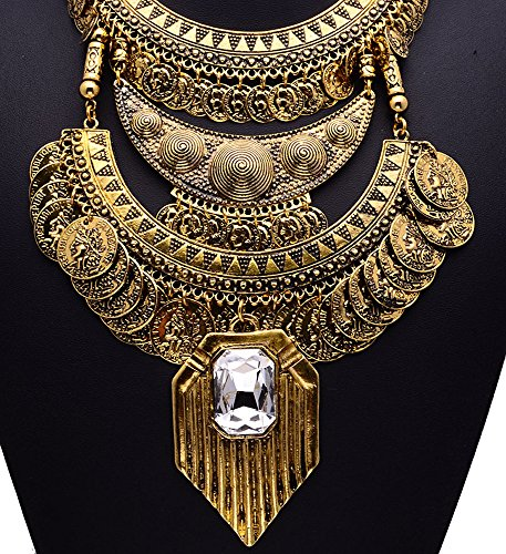 Girl Era Womens Luxury Vintage Portrait Coin Jewelry Big Crystal Pendant Necklace
