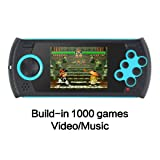 CZT 3.0 Inch Retro Game Handheld Player Game Console Built-in 100 SEGA Games Video Game Console Support AV Cable designed for SEGA (Blue) (Color: Blue)