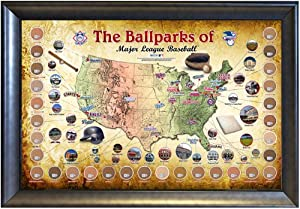 Steiner Sports MLB Baseball Parks Map 20x32 Framed Collage with Game Used Dirt From... by Steiner Sports