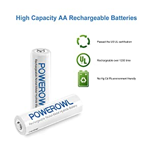 Powerowl AA AAA Smart Battery Charger with 8-Pack AA Ni-Mh Rechargeable Batteries with Micro Cable No Adapter