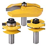 KATUR Rail and Stile Panel Raiser Router Bit Set with Ogee Round Over Raised Panel Cabinet 3Pcs 1/2 Inch Shank Ogee Door Rail and Stile Router Bits Wood Carbide Groove Tongue Milling Tool(1/2