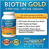 Biotin 5000 Mcg, 180 Vegetarian Capsules - The Gold Standard Biotin For Hair Growth, Skin And Nails