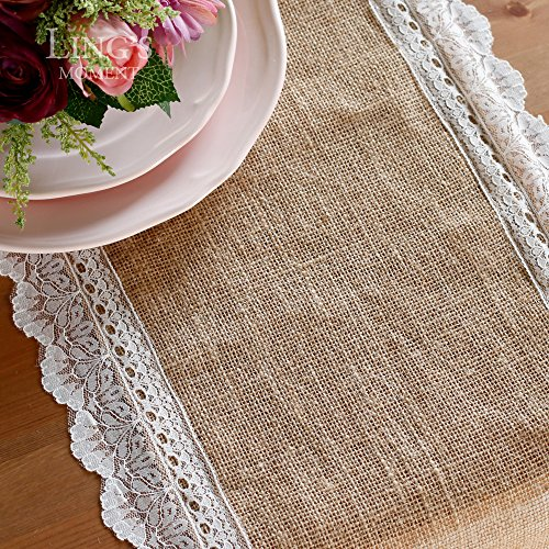 Ling 39 s moment 14 x 108 inch burlap table runner white lace for 108 inch dining table
