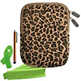 ColorYourLife Bundle of 4 Accessories - Canvas Fabric Case Sleeve Bag Cover for Kindle Paperwhite / Kindle Touch / Kindle / Kindle Keyboard 3g + Cable Tie + Stylus Pen and Microfiber Cleaning Cloth (Cheetah print (6''))