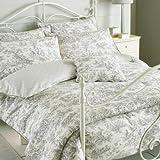 Paoletti Canterbury Tales Toile De Jouy Pure Cotton Pillow Case Grey