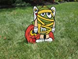 Unique Halloween Lawn Art Figure Green M & M Dressed As A Mummy With Silly Pumpkin & 2 Ghosts Handcrafted & Painted With Great Detail Metal Stakes And Wall Mount Included
