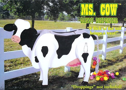 Ms. Cow Wooden Candy Dispenser Funny Toy - Poops Candy!