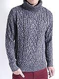 (オークランド) Oakland フィッシャーマン セーター タートルネック ニット ハイネック 起毛 暖かい 品質 ナチュラル 重ね着 メンズ 杢ネイビー Lサイズ