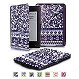 Kindle用カバー ボヘミアン レザーケース 6インチ専用ケース ペーパーホワイト ボヘミアン風 カバー横開き オートスリープ機能 (藍染)