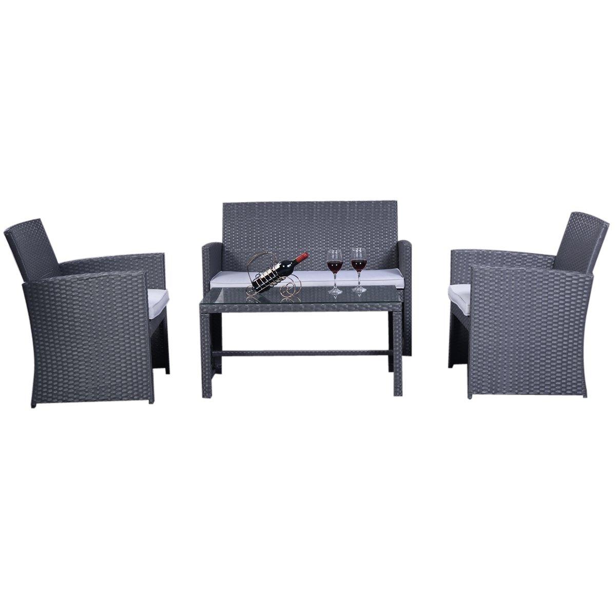 7tlg.Rattan Gartenmöbel Rattanmöbel Set Lounge Polyrattan Sitzgruppe Garnitur Garten Grau online kaufen