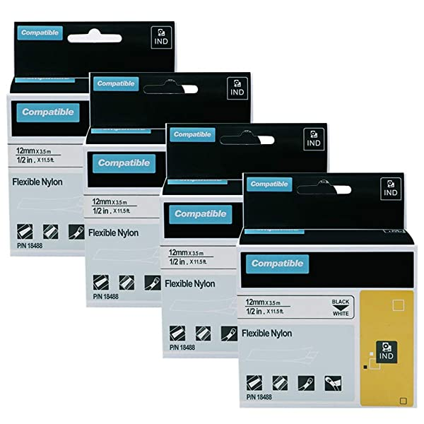 "3PK 18489 Flexible Nylon Lable Tape 3//4/"" Black on White for DYMO Rhino 4200 6000"