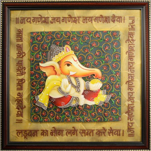 Embossed Hand Painted Ganesh Painting with Ganesh Arti