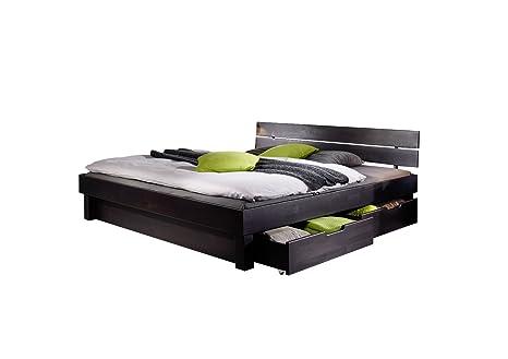 XXS® Massivholzbett Campino mit Schubkästen Bett aus Kernbuche geölt 180 x 200 cm geteiltes Kopfteil