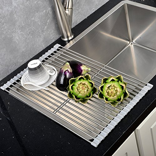 Best Large Commercial Kitchen Folding Small Mat Over The Sink Compact Stainless Steel Dish Rack, Dish Drying Rack Grey (Folding Dish Pan compare prices)