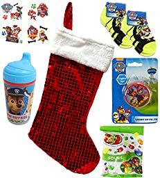 Paw Patrol Holiday Christmas Stocking Gift Bundle with Snacks (10 Pieces)