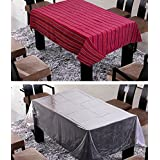 FREELY MAROON COLOR COTTON TABLE COVER WITH TRANSPRANT TABLE COVER FOR 6 SEATERS ( Buy 1 Get 1 )