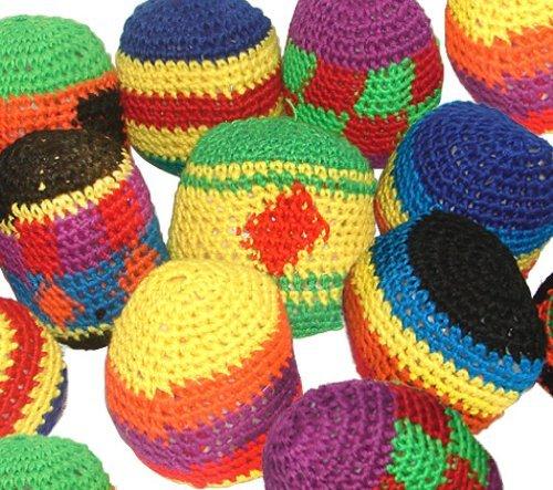 dozen-12-assorted-hacky-sacks-knitted-kick-balls-pack-of-12-foot-bags-kick-balls