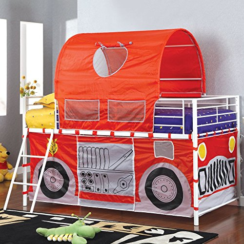 Tanner Fire Truck Inspired Twin Loft Bed with Red Tent (Fire Truck Bed Tent compare prices)