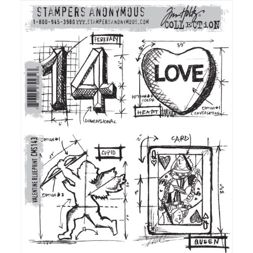 Tim Holtz Stamps - Stampers Anonymous Cling Mount Set #143 Valentine Blueprint