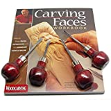 Enlow Carving Faces Workbook & 4pc Woodcarving Tool Set Customized by Harold Enlow for RAMELSON USA