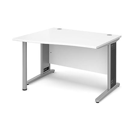 DAMS Largo 1200 Left Handed Wave Desk, Wood, White