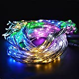 Cleeacc Engergy Saving Flexible Festival and Party Wire LED Starry Rope Lights Create Mesmerizing Hanging Garlands 6.5ft 2m Outdoor or Indoor Decorations String LED Lighting with with Connector and American Adaptor Plug , Colorful