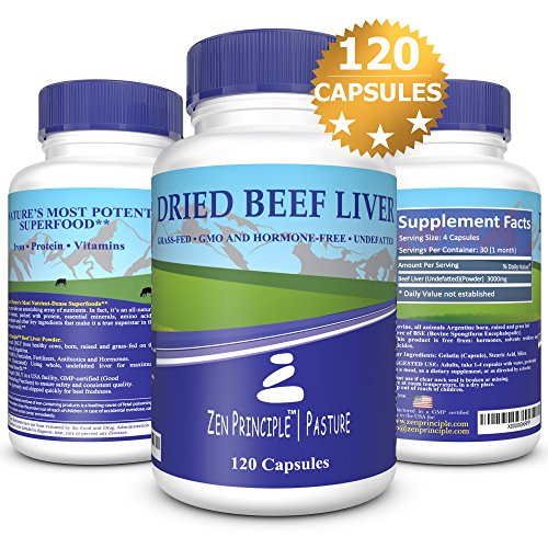 Ultra-Pure-Desiccated-Beef-Liver-Grass-Fed-Pasture-Raised-Cows-No-Hormones-or-GMO-Natural-Energy-and-Workout-Boost-from-Iron-Amino-Acids-Protein-and-Vitamins-120-Capsules-750-Mg