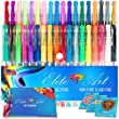 36 Gel Pens with Comfort Grip and Bonus Sketchbook Thick Paper and Coloring EBooks Glitter Metallic Neon Pastel Art Set for Adult Coloring Book Sketching Doodling Great Gift Non-toxic Acid Free