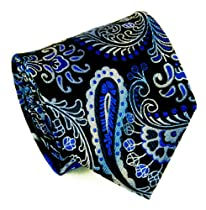 Extra Long Blue and Black Paisley Necktie by Paul Malone 100% Silk