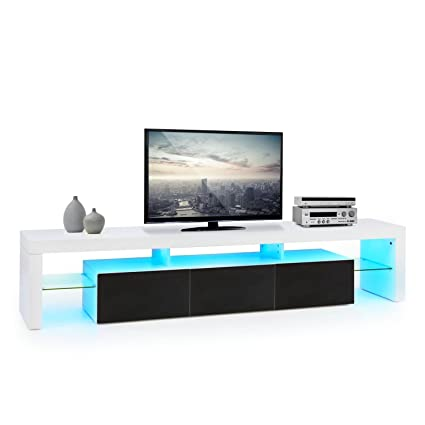 oneConcept Orlando lowboard TV mobile soggiorno (3 cassetti scorrevoli, LED 21 colori con telecomando, ripiano per DVD, struttura a ponte) - nero