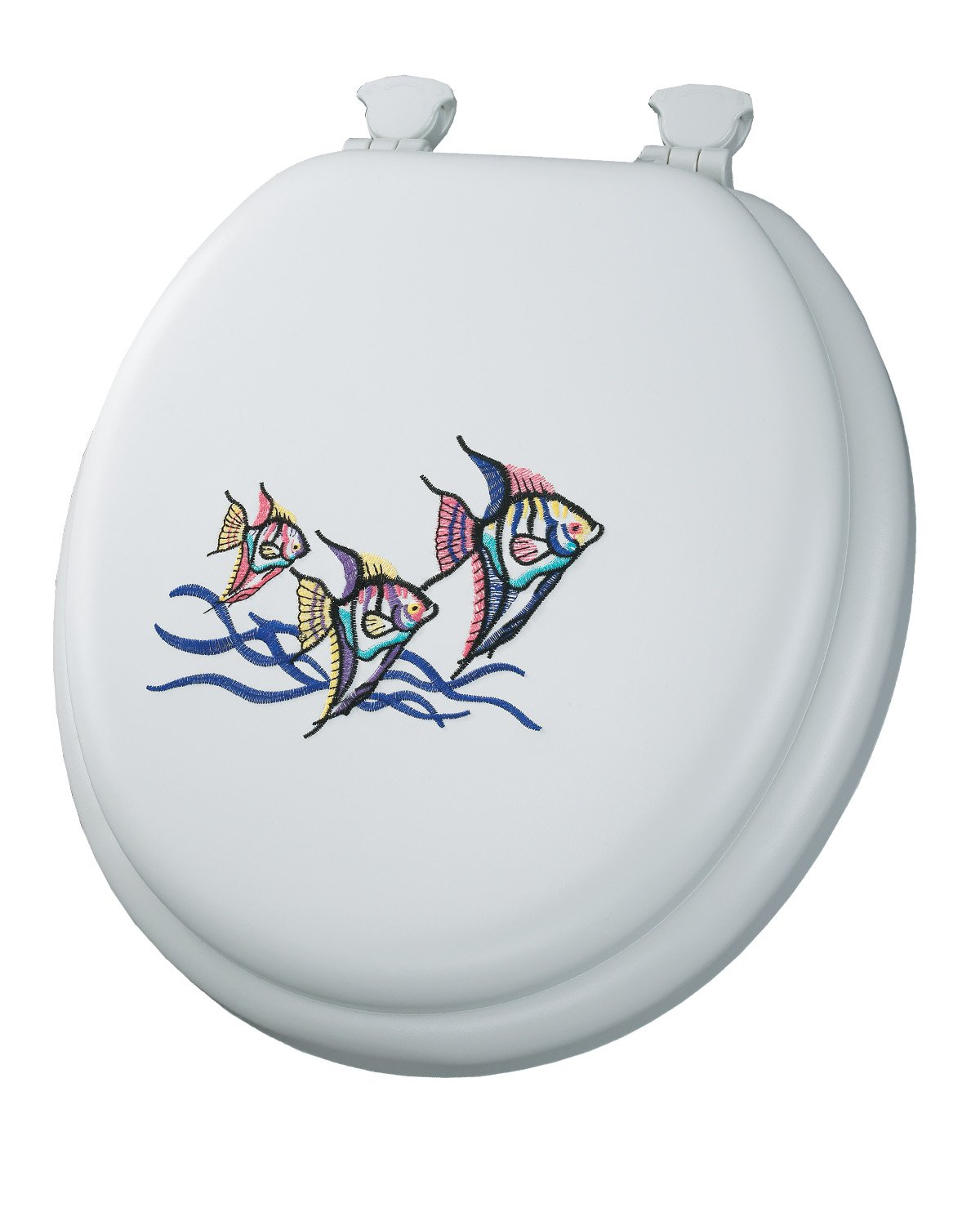 Mayfair 1322EC 000 Tropical Fish Embroidered Soft Toilet Seat With Lift Off Hing