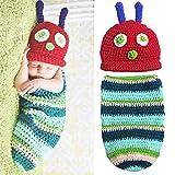 Museya Süße Raupe Stil Baby Kleinkinder Neugeborenen Handarbeit häkeln Mütze Hut Baby Fotografie Props Kleiderset
