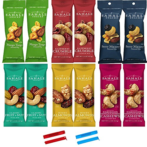 Sahale Snacks All Natural Nut Blends Grab And Go Variety Pack (1.5 oz x 12 Packs) with 2 x 2