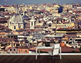 WTD Fleece Wall Mural Rome Rooftops Wallpaper, Fleece Mural, Italy, Vatican, City, Roof, Holiday - Size: XXL - 291x194cm - 3 parts