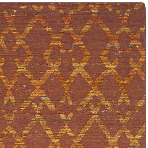 Safavieh Straw Patch Collection STP211A Hand Woven Rust and Gold Wool Area Rug, 6 feet by 9 feet (6' x 9')