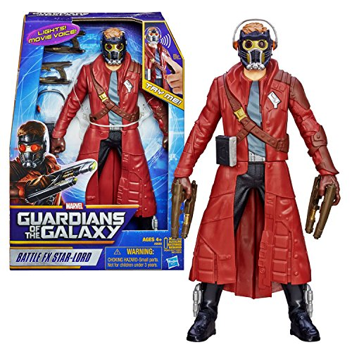 "Hasbro Year 2013 Marvel ""Guardians of the Galaxy"" Movie Series 12 Inch Tall Electronic Action Figure - BATTLE FX STAR-LORD with Light Up Eyes and Sounds Plus 2 Quad Blasters and Walkman with Headphones - 1"
