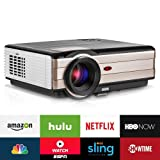 Video Projector Wireless 3500 Lumens, LCD Android WiFi Multimedia Home Theater Projector 200in, Full HD 1080p 720P Ready, with HDMI USB TV Speaker & Remote for Outdoor Movie Football Sports Artwork