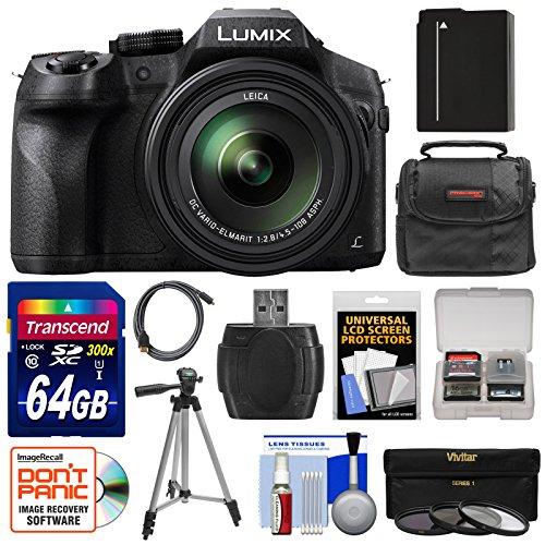Panasonic Lumix DMC-FZ300 4K Wi-Fi Digital Camera with 64GB Card + Battery + Case + Tripod + 3 Filters + Kit (Panasonic Lumix Dmc Fz70 Battery compare prices)