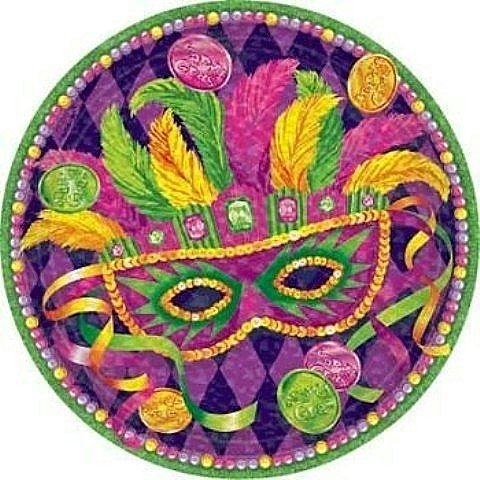 Mardi Gras Masquerade 9in Dinner Plates Party Accessory 8ct
