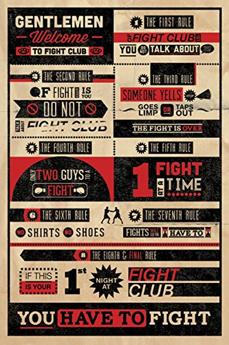 Fight Club Rules Infographic Cult Classic Drama Movie Film Poster Print 24 by 36 into the wild nostalgia retro classic movie kraft poster painting core 51x35 5cm