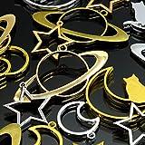 [UNATA.] uv レジン 枠 空枠 パーツ 【 宇宙 月 星 シリーズ 福袋 】 20個 セット 土星 ムーン 三日月 猫 ねこ 詰め合わせ アソート から わく フレーム セッティング 型 ゴールド シルバー 金古美 アクセサリー 材料