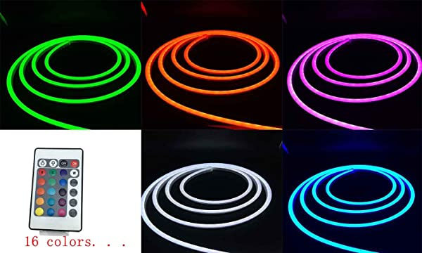 Pearlight DC12V Neon Led RGB Rope Light, Flexible/Waterproof/Multi-Color/Remote Control for Home/Garden/Architectural Decoration (10 FT / 3 Meters, RGB) (Color: Multicolor)
